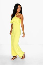 Boohoo High Neck Strappy Ruffle Maxi Dress Chartreuse