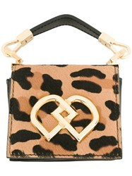 Dsquared2 Leopard Print Clutch Bag Women Leather Pony Fur One Size Black