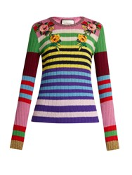 Gucci Floral Applique Striped Wool Blend Sweater Multi