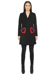 Love Moschino Bonded Melton Wool Coat W Hearts