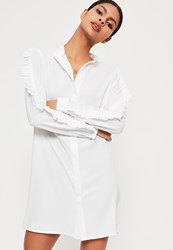 Missguided White Ruffle Sleeve Shirt Dress