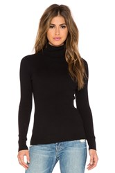525 America Solid Rib Turtleneck Sweater Black