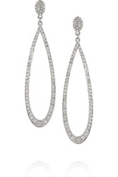Kenneth Jay Lane Rhodium Plated Crystal Earrings Silver