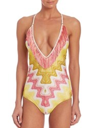 Missoni Mare One Piece Fringe Swimsuit Yellow