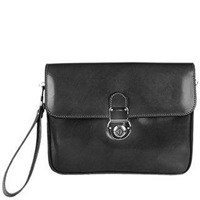 L.A.P.A. Men's Genuine Leather Clutch Black