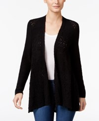 Styleandco. Style Co. Petite Open Front Pointelle Cardigan Only At Macy's Deep Black