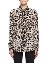 Saint Laurent Babycat Print Silk Blouse Multi Multi Pattern