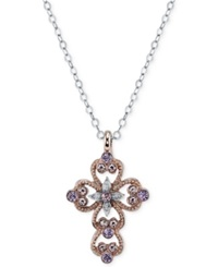 Vatican Rose Gold Tone And Silver Tone Light Purple Cross Pendant Necklace Amethyst