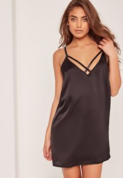 Missguided Harness Detail Cami Slip Dress Black