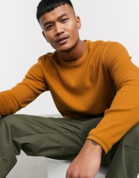Bershka Crew Neck Jumper In Mustard Yellow