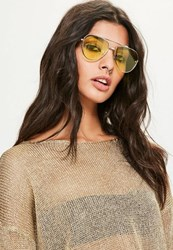Missguided Yellow Lens Aviator Sunglasses