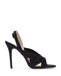 Reiss Rhiannon Suede Knot High Heel Sandals Navy