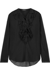 Theory Rianala Lace Up Ruffled Silk Georgette Blouse Black