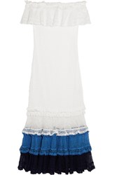 Jonathan Simkhai Off The Shoulder Crocheted Cotton Blend Dress White