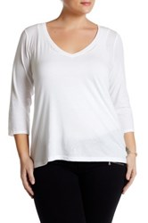 14Th And Union 3 4 Sleeve V Neck T Shirt Plus Size White