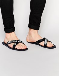 Armani Jeans Logo Cross Over Flip Flops Blue
