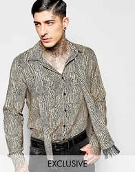 Reclaimed Vintage Reptile Shirt With Neck Scarf Tan