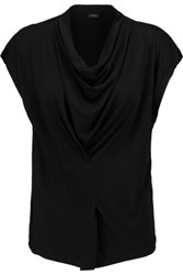 Joseph Draped Stretch Jersey Top Black