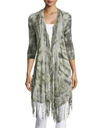 Xcvi Dogwood Lace Trim Cardigan Moss Multi