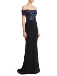 Rene Ruiz Jacquard Off The Shoulder Gown Blue Black