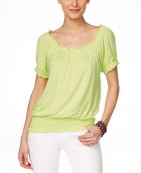 Inc International Concepts Smocked Waist Off Shoulder Peasant Blouse Only At Macy's Sunny Lime