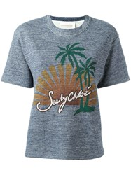 See By Chloe Graphic Print T Shirt Blue