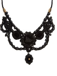 Gucci Bead Embellished Velvet Necklace Black