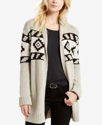 Levi's Knit Pattern Belted Cardigan Tan