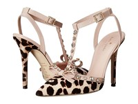 Kate Spade Lydia Blush Brown Leopard Haircalf Print Pale Pink Nappa Women's Shoes Animal Print