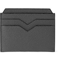 Valextra Pebble Grain Leather Cardholder Gray