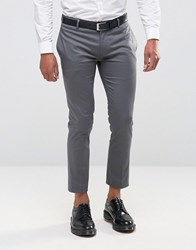 Asos Super Skinny Cropped Pant In Cotton Sateen Gray