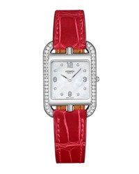 Hermes Cape Cod Pm Watch With Diamonds And Alligator Leather Strap Red