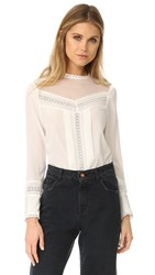 Rebecca Taylor Lace Paneled Silk Blouse Chalk