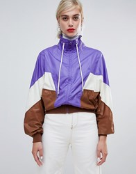 Stradivarius Colourblock Windbreaker White