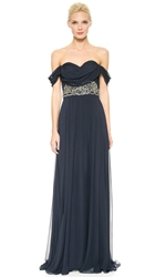 Notte By Marchesa Draped Chiffon Gown Midnight
