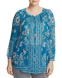Lucky Brand Plus Floral Paisley Button Down Blouse Turquoise Multi