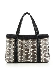 Roberto Cavalli Watersnake And Leather Satchel Natural