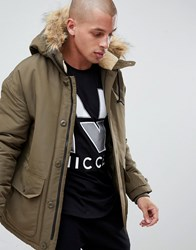Nicce London Parka Jacket In Green With Fur Hood