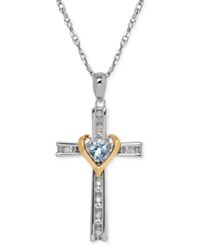 Macy's Aquamarine 1 4 Ct. T.W. And Diamond Accent Cross Pendant Necklace In Sterling Silver And 14K Gold