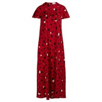 Red Valentino Long Printed Dress Deep Red