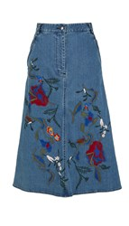 Tibi Marisol Embroidered Denim Skirt
