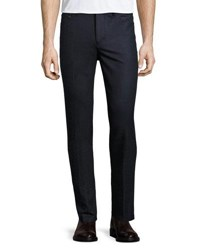 Luciano Barbera Wool Slim Trousers Navy