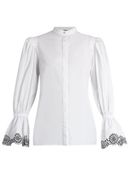 Alexander Mcqueen Broderie Anglaise Trimmed Cotton Blouse 910 White Black