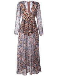 For Love And Lemons Floral Maxi Dress Pink Purple