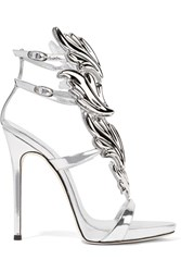 Giuseppe Zanotti Cruel Embellished Metallic Leather Sandals Silver