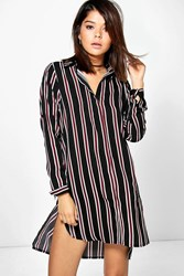 Boohoo Stripe Long Sleeve Shirt Dress Black