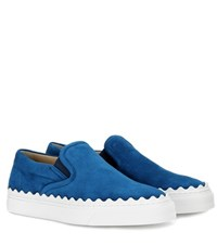Chloe Ivy Suede Slip On Sneakers Blue