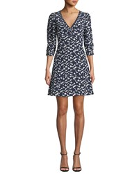 Tanya Taylor Dylan Printed Silk 3 4 Sleeve Short Dress Blue Pattern