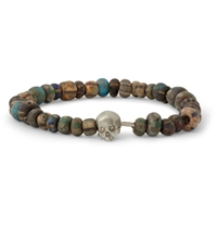 Luis Morais White Gold Skull And Bead Bracelet Brown