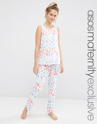 Asos Maternity Bright Leopard Pyjama Vest And Trouser Set Leopard Multi